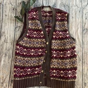 American Eagle Button Knit Large Sweater Vest